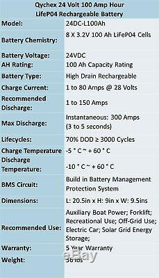 24V 100Ah Lithium Rechargeable Battery RV / Golf Cart / Off Grid