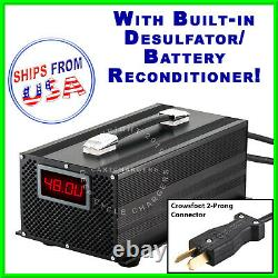 48V 17A Tomberlin withCrowsFoot Golf Cart Battery Charger Desulfator Reconditioner