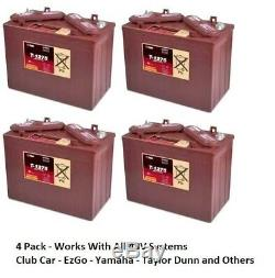 4 Pack, 48V 12 Volt Golf Cart Batteries Trojan Battery T-1275 Club Car EzGo