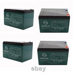 4pc 12V 12Ah Ebike Electric Scooter Rechargeable Battery E-Bike Cart Golf Boat