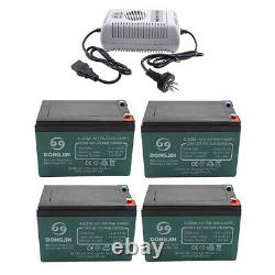 4x 12V 12AH 6DMZ12 Leadacid Battery SCOOTER GOLF CART BUGGY Wheelchair + Charger