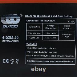 4x 12V 24Ah 6-DZM-20 Battery +48V Charger For Electric Scooter Golf Cart Go Kart