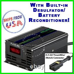 EZGO 48V PowerWise NOTCH Golf Cart Battery Charger Desulfator Reconditioner wLED