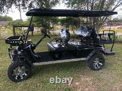 New 6 Seat Golf Cart AC Motor Lithium Battery Loaded with Options Blk/Blk