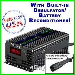 Yamaha 48 Volt G29 3-Pin Golf Cart Battery Charger withDesulfator Reconditioner